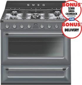 Smeg-90cm-Victoria-Dual-Fuel-Upright-Cooker-Slate-Grey on sale