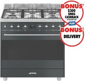 Smeg-90cm-Gas-Upright-Cooker-Matte-Black on sale