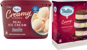 Bulla-Creamy-Classics-2-Litre-or-Cookie-Sandwich-4-Pack on sale