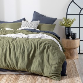 Washed-Linen-Olive-Quilt-Cover-Set-by-MUSE on sale