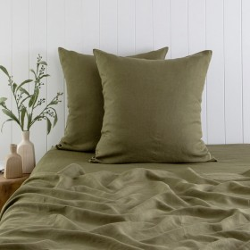 Washed-Linen-Olive-European-Pillowcase-Pair-by-MUSE on sale