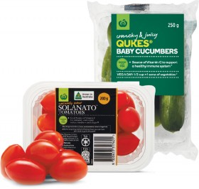 Australian-Sweet-Solanato-Tomatoes-200g-Punnet-or-Qukes-Baby-Cucumbers-250g-Pack on sale
