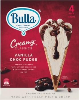 NEW-Bulla-Creamy-Classics-Cones-520ml-Pk-4 on sale