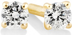 Solitaire-Stud-Earrings-with-010ct-TW-Diamonds-in-10ct-Yellow-Gold on sale