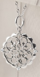 Filigree-Pendant-with-Diamonds-in-Sterling-Silver on sale