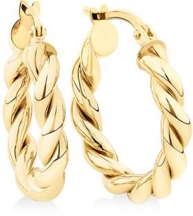 15mm-Braid-Twist-Hoop-in-10ct-Yellow-Gold on sale