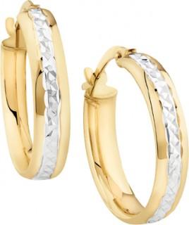 NEW-15mm-Two-Tone-Diamond-Cut-Hoop-Earrings-in-10ct-Yellow-Gold on sale