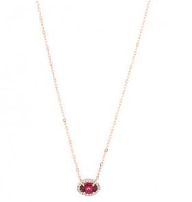 NEW-Halo-Rhodolite-Garnet-Diamonds-Necklace-in-10ct-Rose-Gold on sale
