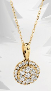 NEW-Round-Cluster-Pendant-with-050-Carat-TW-of-Diamonds-in-10ct-Yellow-Gold on sale