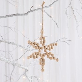 Noelle-Natural-Beaded-Star-Decoration-by-Habitat on sale