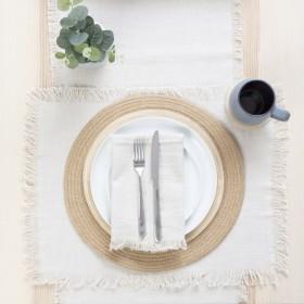 Ashra-Fringed-Beige-Table-Linen-Range-by-MUSE on sale