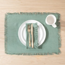 Ashra-Fringed-Forest-Green-Table-Linen-Range-by-MUSE on sale