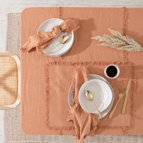 Ashra-Fringed-Rust-Table-Linen-Range-Range-by-MUSE on sale