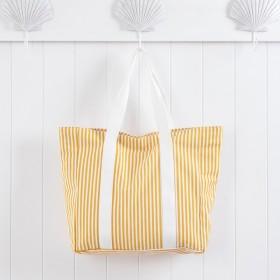 Sundays-Aegean-Mustard-Stripe-Beach-Bag-by-Pillow-Talk on sale