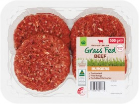 Woolworths-Grass-Fed-Beef-Burgers-500g-From-the-Meat-Dept on sale